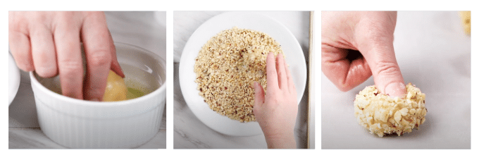 Three photo collage of applying and shaping hazelnuts to a thumbprint cookie.