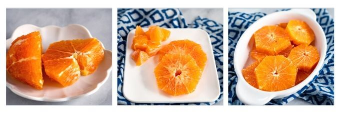 3-photo collage of oranges sliced and diced for a salad sitting on white plates.