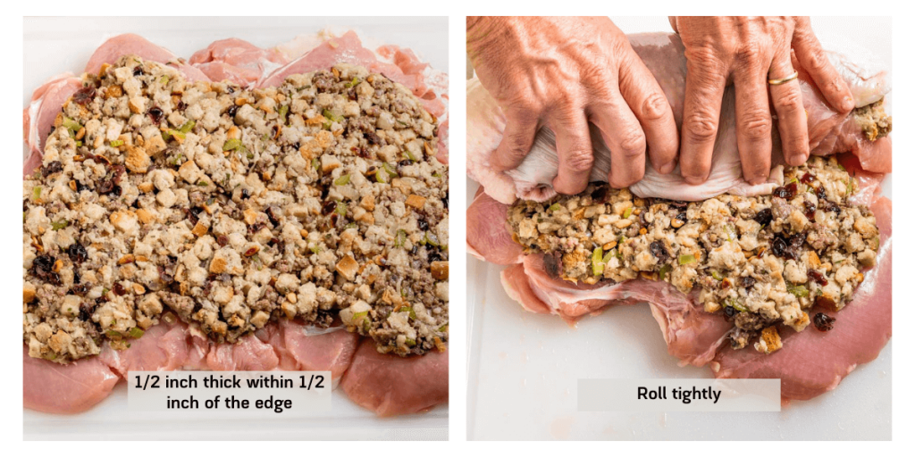 Two photo grid showing how to stuff a turkey roulade with homemade stuffing and rolling it.
