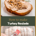 Two photo collage of a 3/4 angled view of a slice of turkey roulade showing a stuffing swirl garnished with rosemary on a white plate. over an uncooked turkey roll being basted with melted butter.