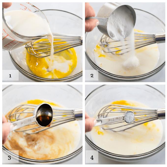 A 4-grid photo showing the steps of mixing vanilla muffin batter. 1 adding milk 2 add sugar 3 add vanilla 4 add salt