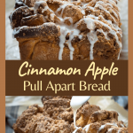 Two photo collage for Pinterest. The top photo is a tableview of a loaf of cinnamon apple bread and the bottom photo is of a drizzle being applied to the top.
