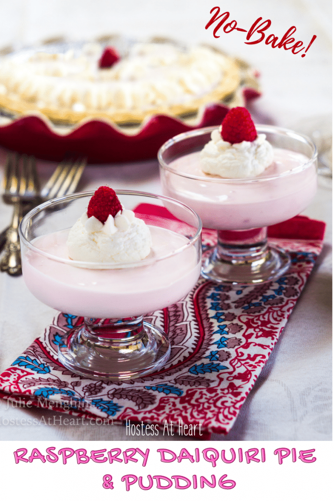 Two dessert cups of raspberry pudding with a raspberry pie in the background.
