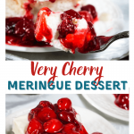 Two photo collage for Pinterest. The top photo shows a slice of cherry meringue dessert behind a fork filled with the dessert.