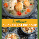 Two photo collage for Pinterest. Top photo is a top down view of a gray bowl filled with chicken and vegetables topped with puff pastry crackers. The bottom photo is of two bowls of the soup with the crackers spread around the bowls. Two spoons lie between the bowls.