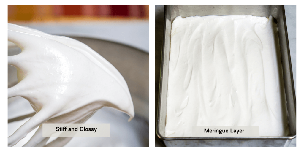 Two photo grid showing the texture of meringue next to a photo of a 9x13 pan layered with the meringue layer.
