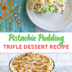 Two photo collage for Pinterest. The top photo is a slice of Pistachio Pudding Trifle dessert on a plate containing white cake, pistachio pudding, whipped topping and a mix of toasted coconut with pecans.