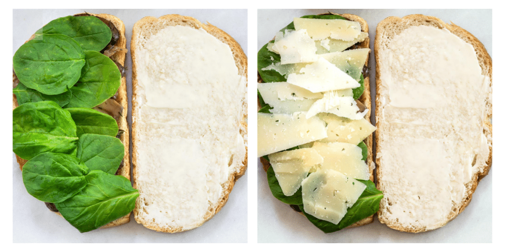 Two photo grid of an open-faced buttered bread layered with fresh spinach and then topped with cheese.