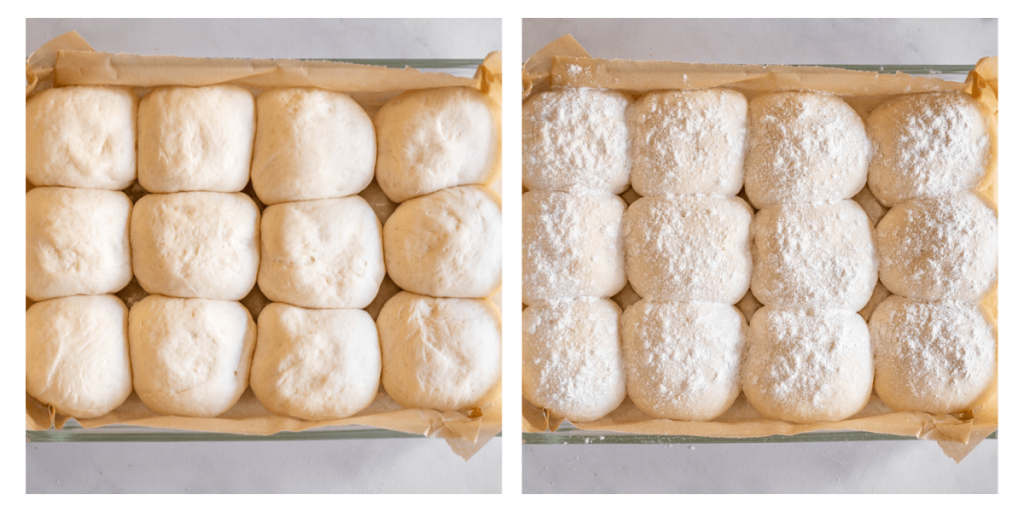 Side by side photos of risen bread rolls and bread rolls dusted with flour.