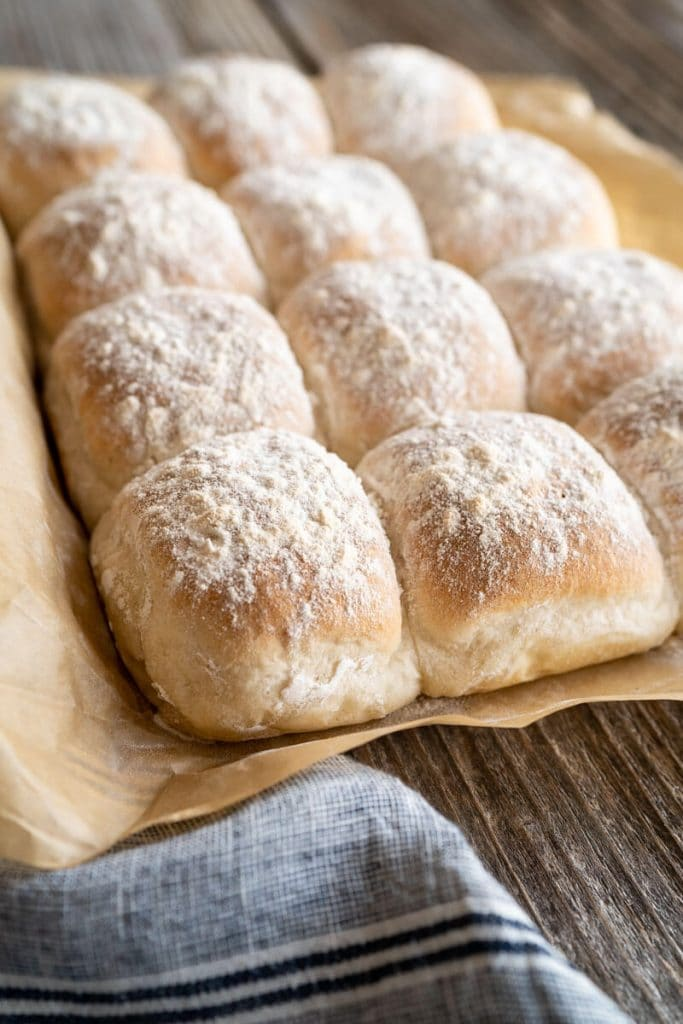 3/4 angle view of baked Waterford Blaa Rolls.