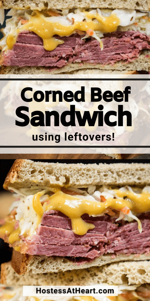 Two photo collage of a corned beef sandwich with mustard sauce and slaw