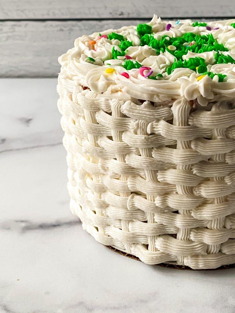 Finished Basket Weave Cake on Display.
