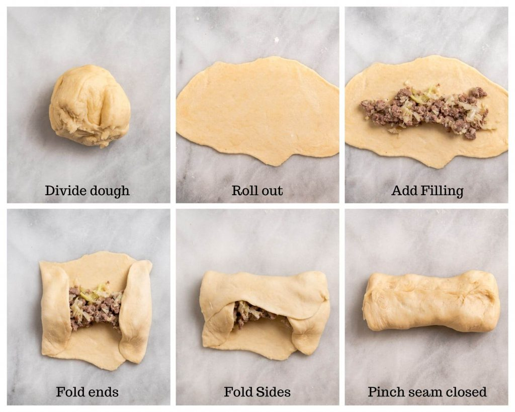 6 photos showing how to assemble meat filling in bread dough.