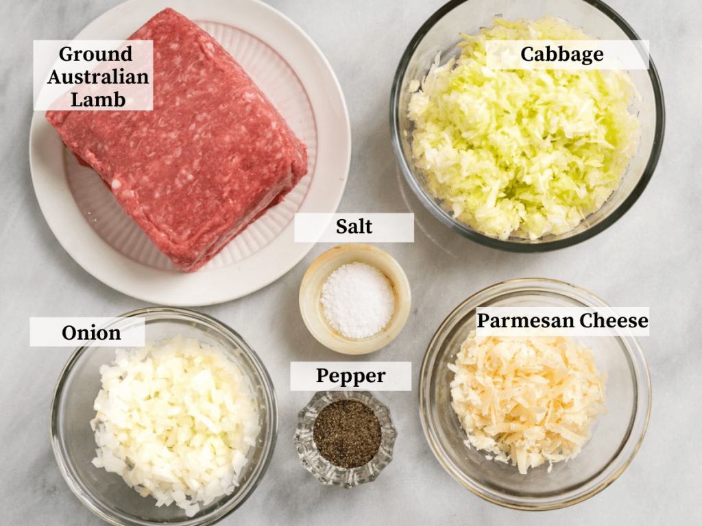 Ingredients used to make Lamb meat buns including ground lamb, onion, cabbage, salt, pepper, and parmesan cheese