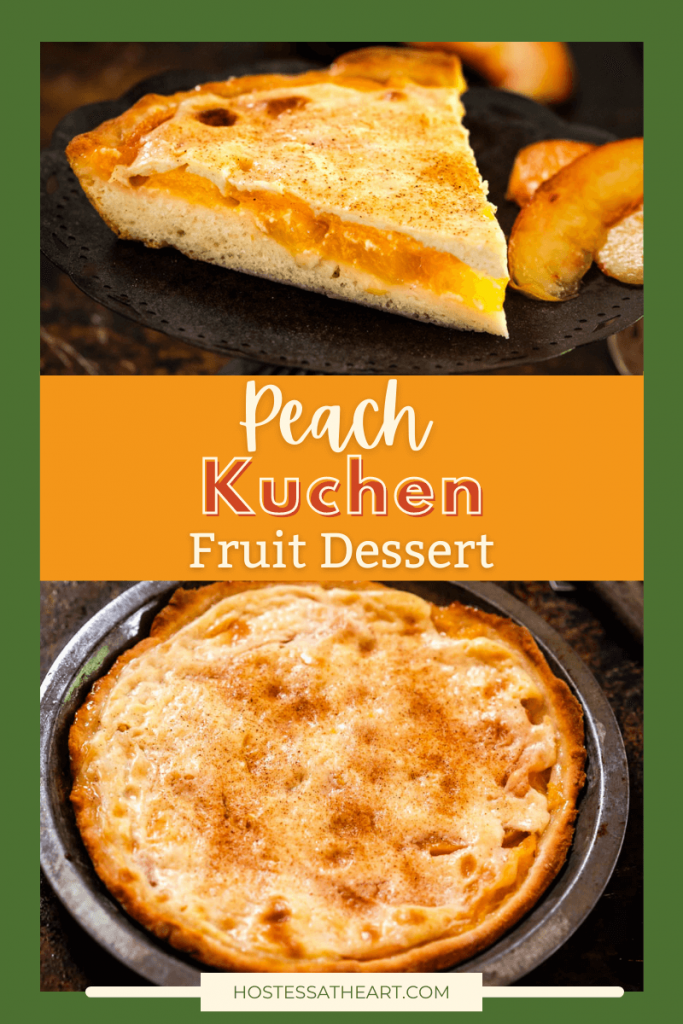 Two photo collage for Pinterest. Top photo is a wedge of a peach dessert. The bottom photo is a top down photo of the uncut whole peach dessert in a pie tin.