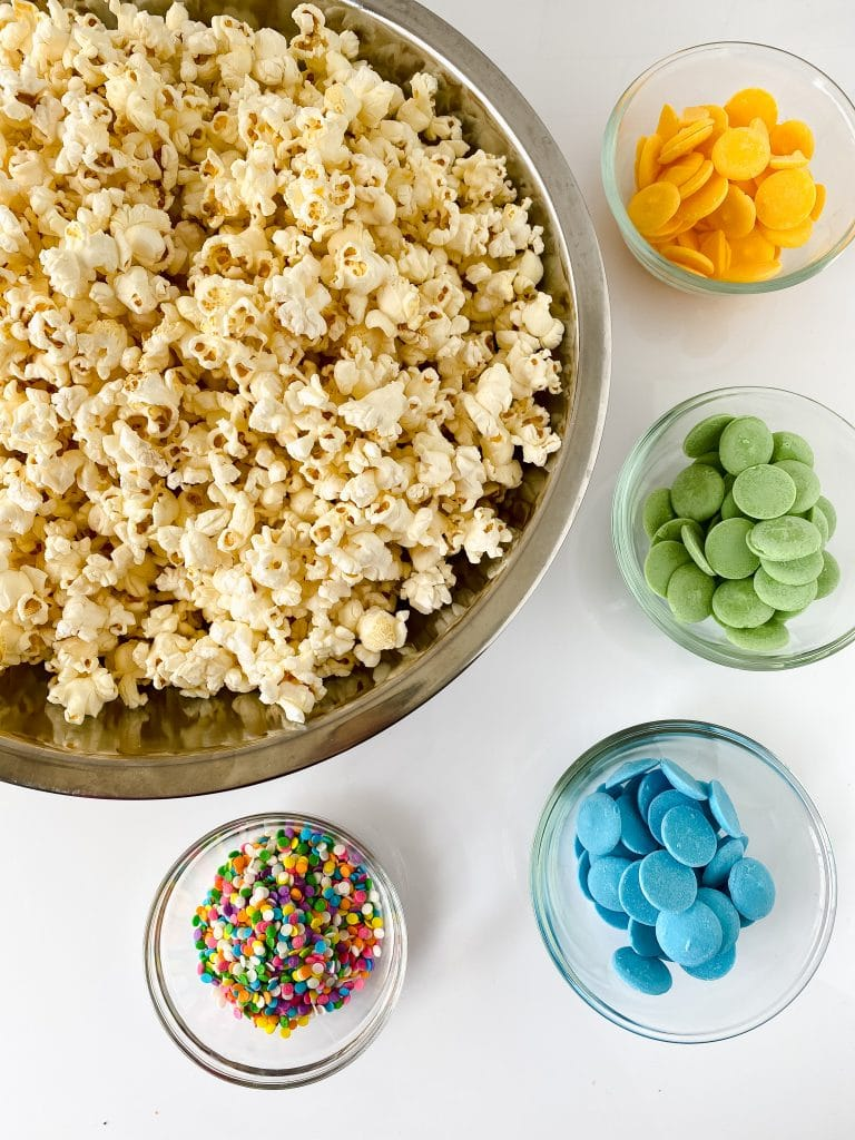 Ingredients for the unicorn popcorn recipe.