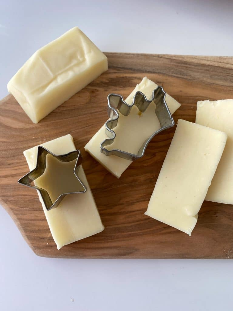 cheese being cut into cute shapes