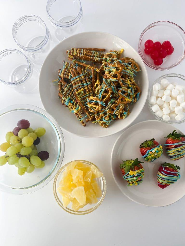 Ingredients for a dessert jarcuterie.