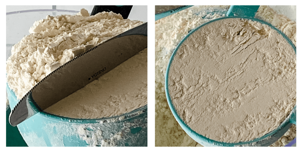 Two photo grid showing leveling flour in a measuring cup