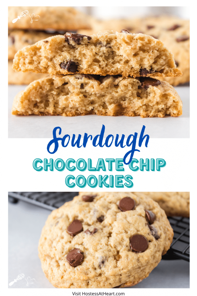 Two photo collage for Pinterest. The top photo is of a cookie broken in half showing the interior and the bottom photo is a full cookie dotted with chocolate chips leaning against a cooling rack.