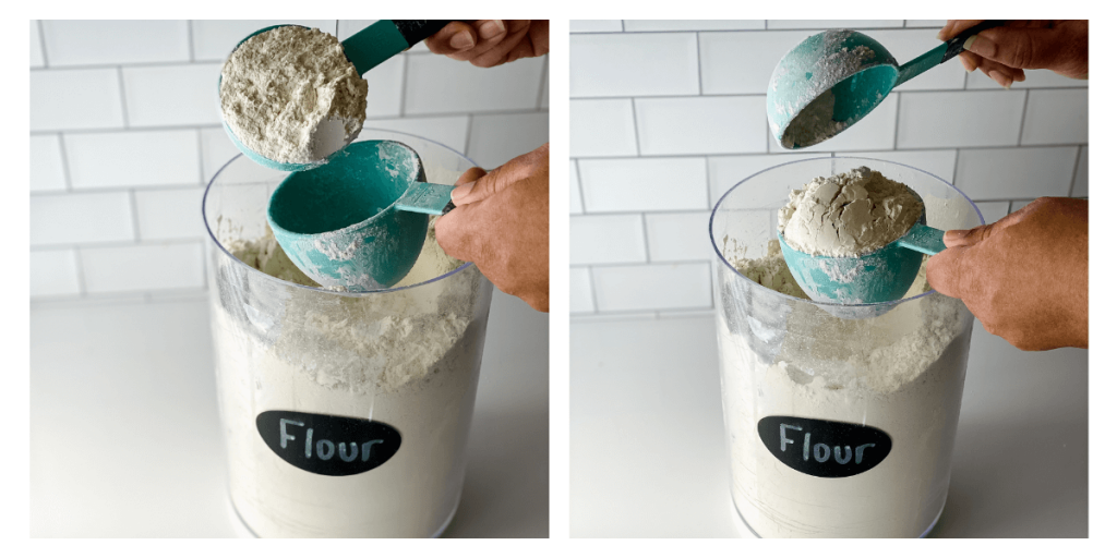 2 photo grid on how to fill a measuring cup using a spoon and measure technique.