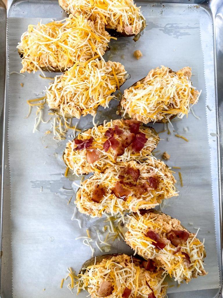 Potatoes on the sheet pan.