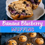 Two photo grid of a banana blueberry muffin cut in half over a muffin tin filled with baked muffins.