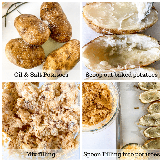 4 photo grid showing baked potatoes scooped out and stuffed with filling.
