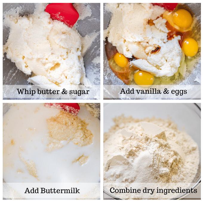 4 steps for making cake batter.