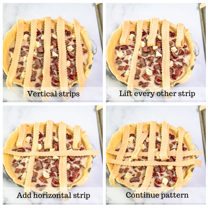 4 photo grid showing the steps for making a lattice pie crust.