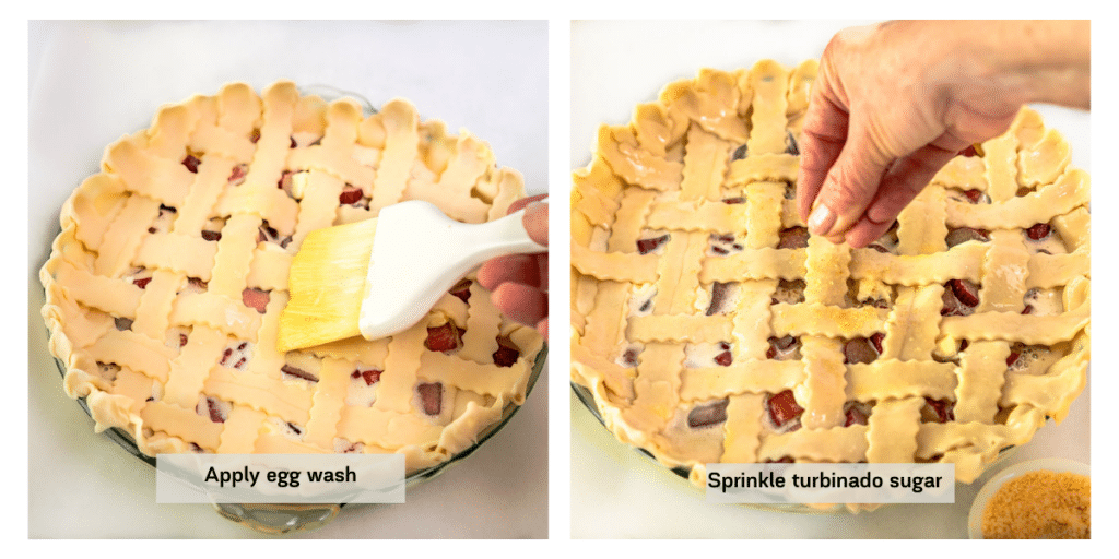 Two photo grid of egg wash being applied to a lattice pie crust and then sprinkled with coarse sugar.