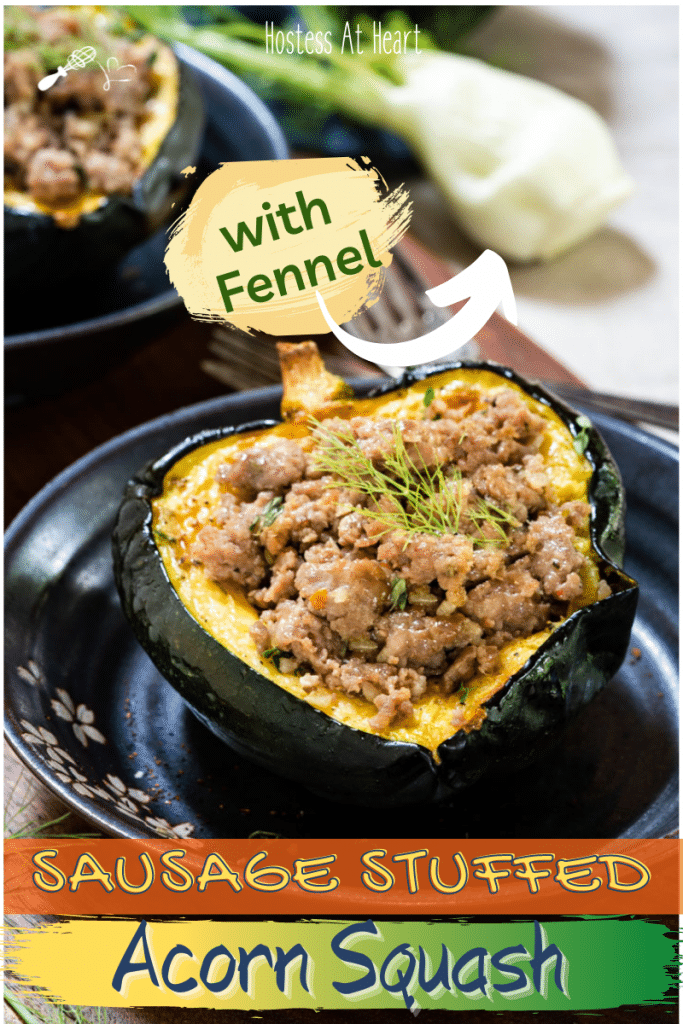 An acorn squash half stuffed with sausage and fennel.