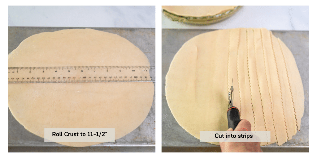 Two photo grid showing pie crust rolled and then sliced.