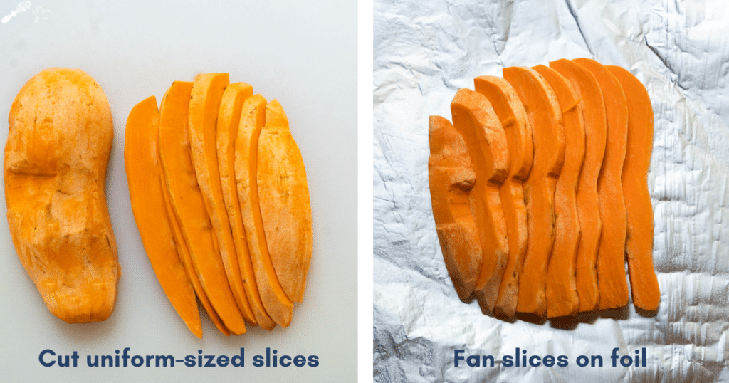 Two photos of sliced sweet potatoes showing the correct thickness.