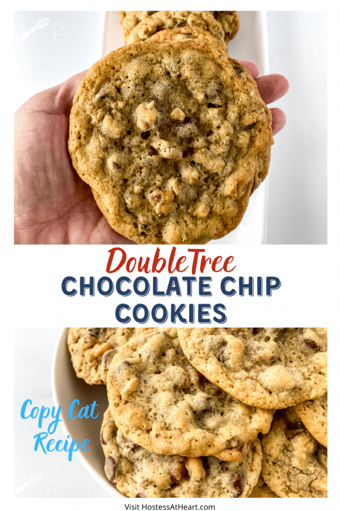 Two photos of Baked Chocolate Chip Cookies. One photo is a hand holding the cookie and the other photo is of a bowl loaded with the cookies.
