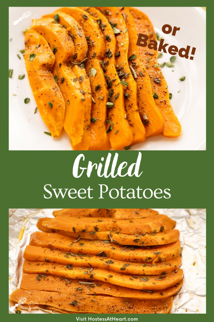 Two photos of grilled sliced sweet potatoes fanned out and garnished with herbs.