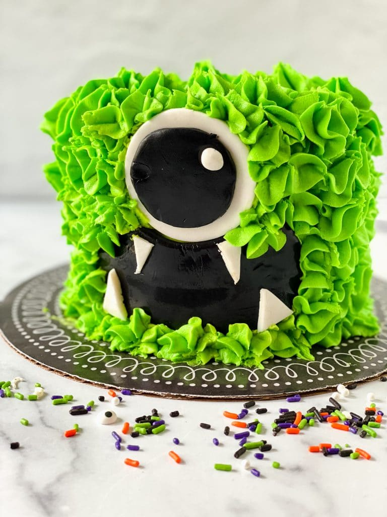 Close-up of Halloween Monster Cake.