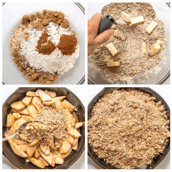Steps to making streusel topping including mixing ingredients together, cutting butter into the ingredients, spooning it over the pears and covering them completely.