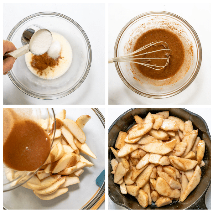 4 grid photo of making pear crisp filling including adding ingredients to a bowl and whisking them together then pouring it over pears and adding them to a cast iron pan.