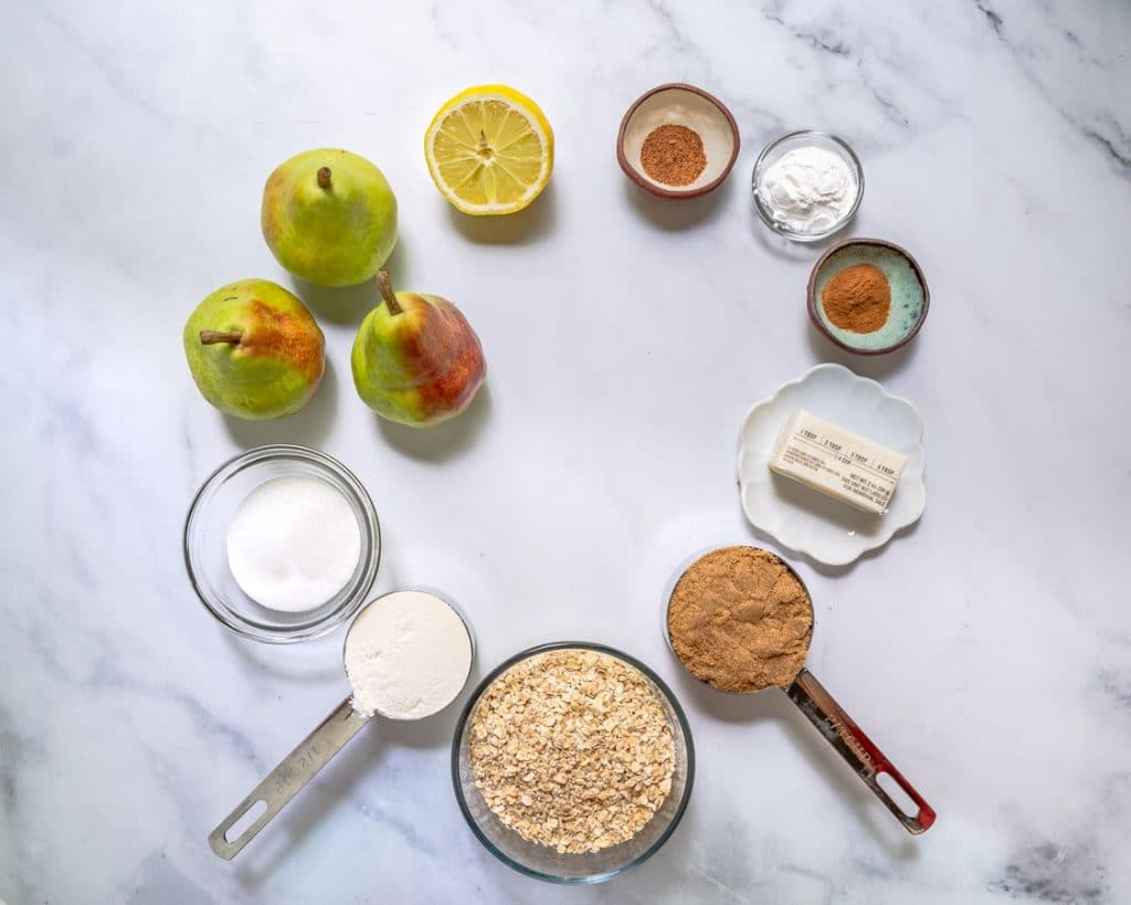 Ingredients used to make pear crisp topped with streusel with oats