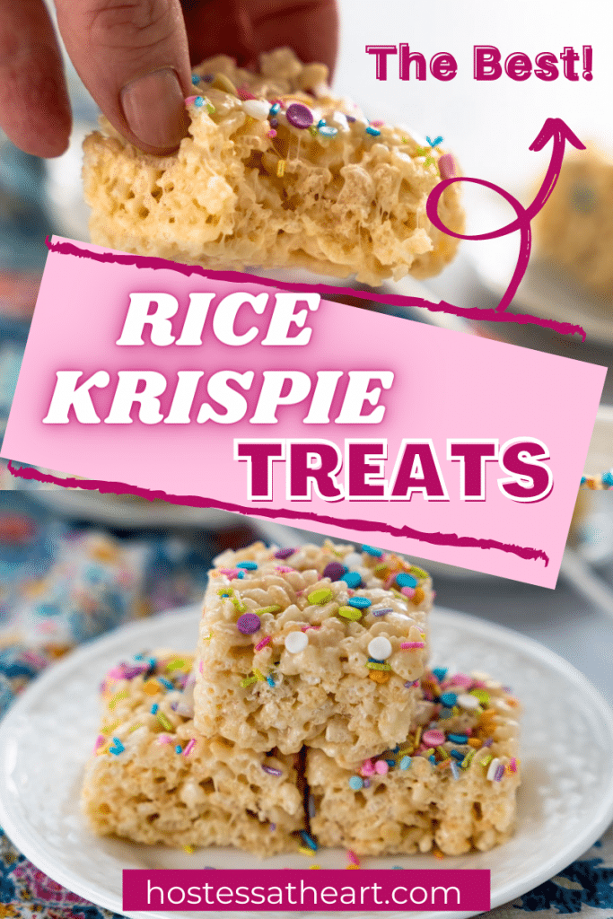 Two photos of Rice Krispie Treats garnished with colorful sprinkles. The top photo has a bite taken out of it.