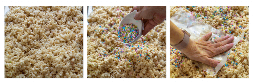 3 photo collage of rice krispie treats being spread on a pan, sprinkles applied and pressed to the edges.