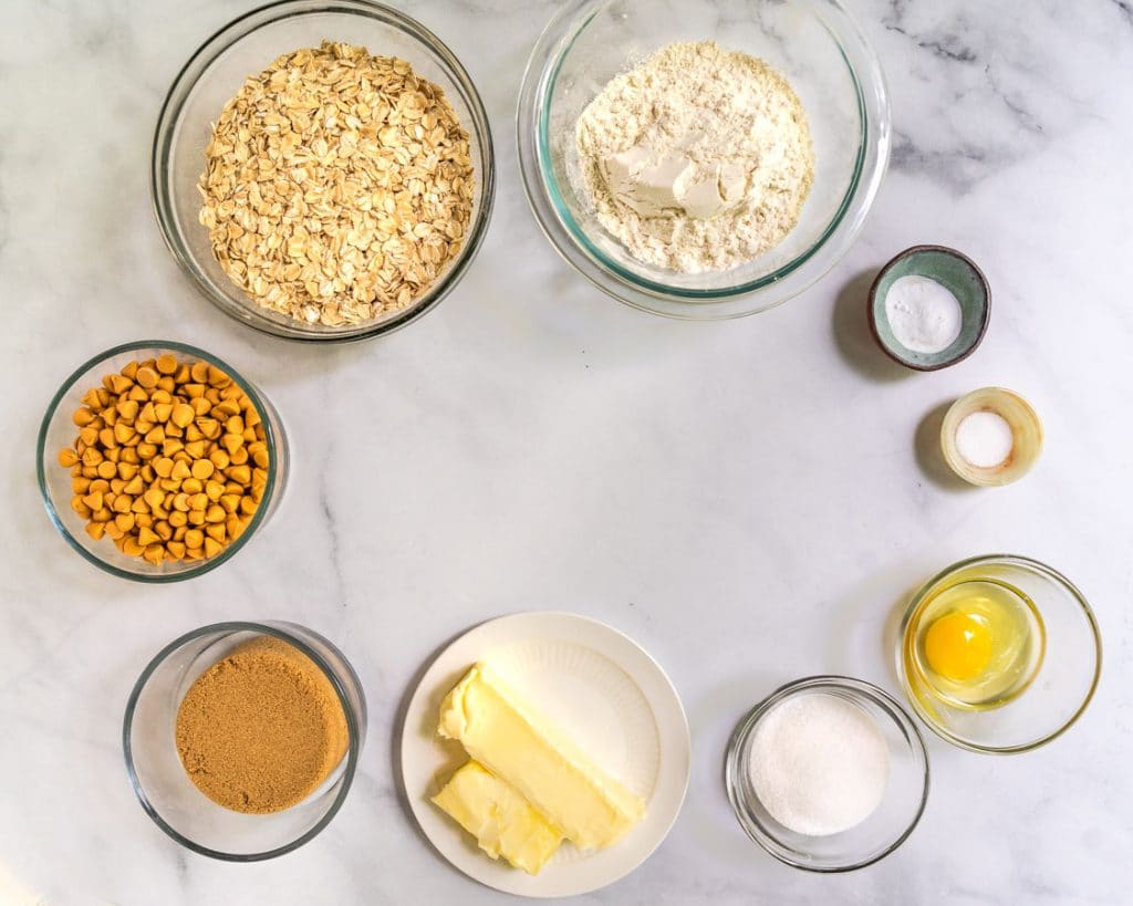 Top down view of the ingredients used to make oatmeal scotchie cookies