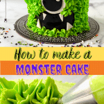 A cake decorated to look like a green monster with black eyes.