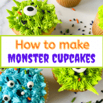 Top down photo of decorated cupcakes to resemble monsters with eyeballs and sprinkles.