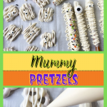 Pretzels drizzled with white chocolate and garnished with candy sprinkles and eyeballs.