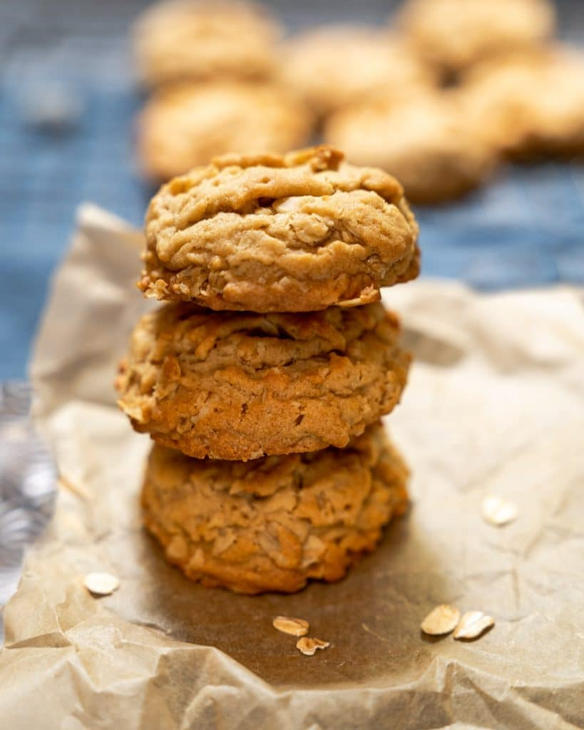 Three stacked oatmeal cookies.