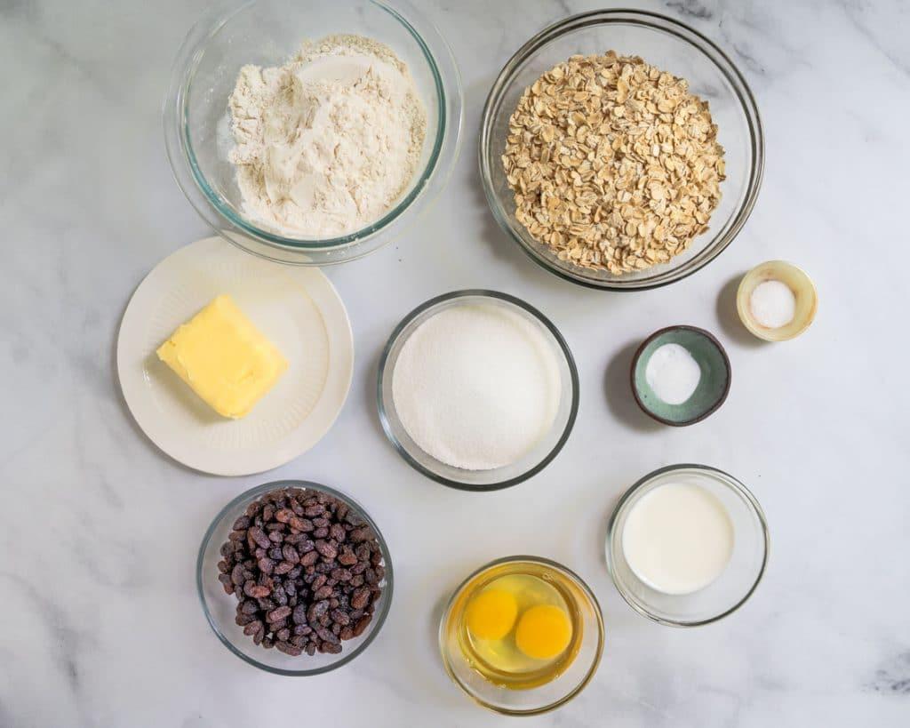 Ingredients: Flour, sugar, butter, salt, baking soda, raisins, milk, oats, and eggs.