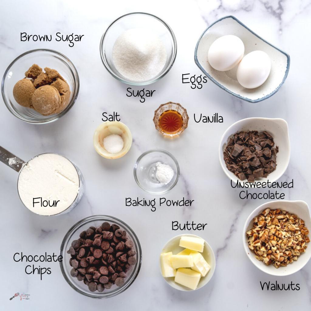 Top down view of ingredients used to make Brownie Cookies