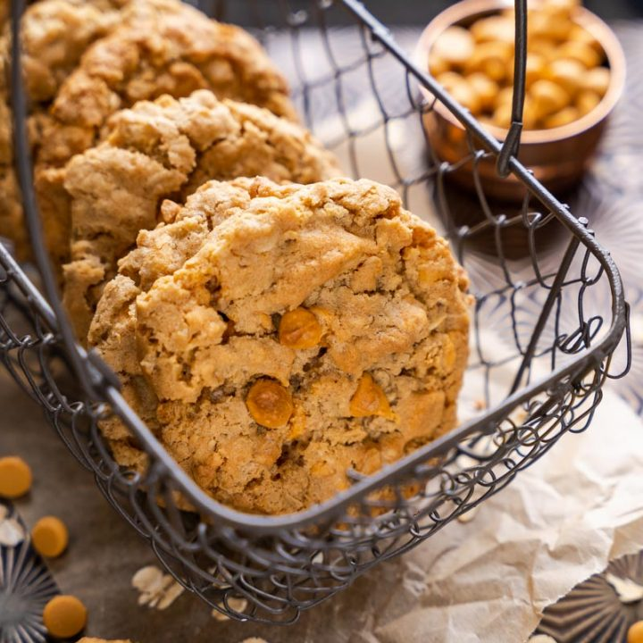 Oatmeal Butterscotch cookies stacked in a basket